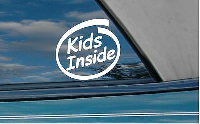 2x Kids inside stickers car decal - Art & Text