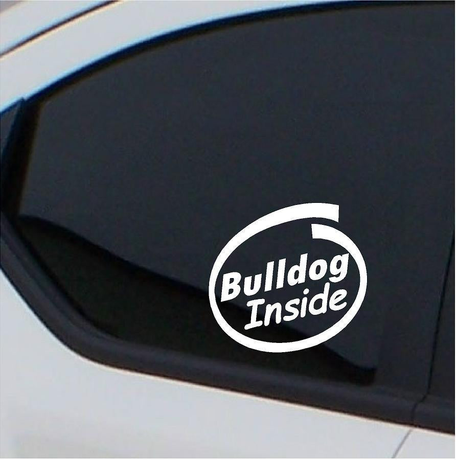 2x Bulldog  stickers Inside car decals - Art & Text