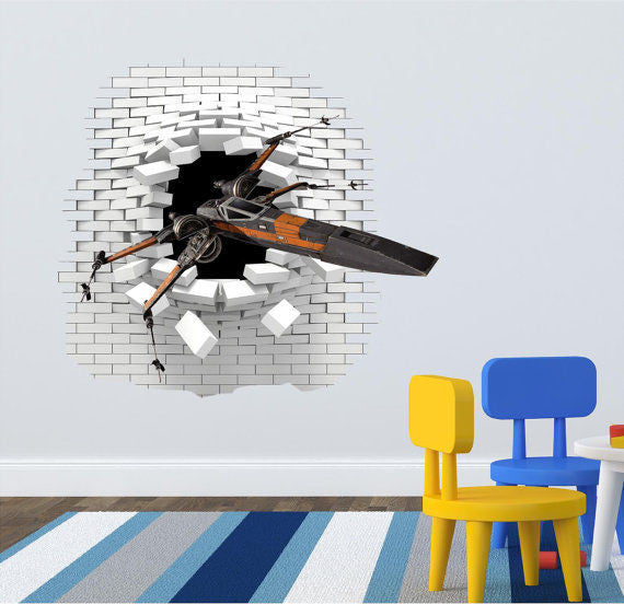 Star Wars X Wing Fighter Wall decal and stickers great for the kids room. - Art & Text
