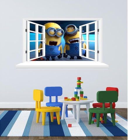 Minions 3D Window wall decal (size 58 x 105 cm) - Art & Text