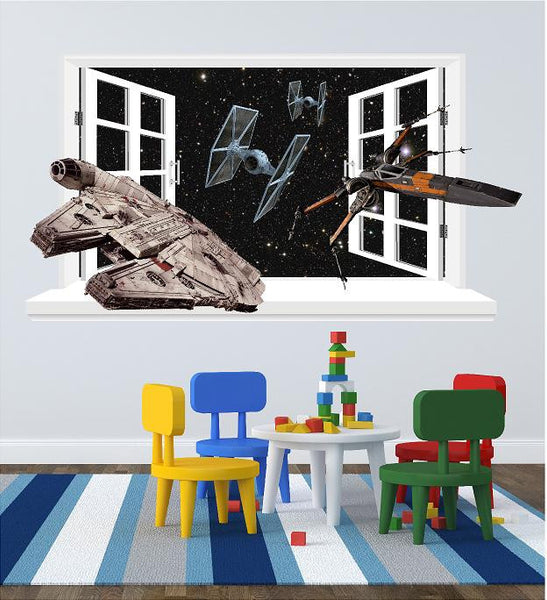 Millennium falcon and X Wing fighter  3D window sticker for the wall  (size 58 x 106 cm) - Art & Text