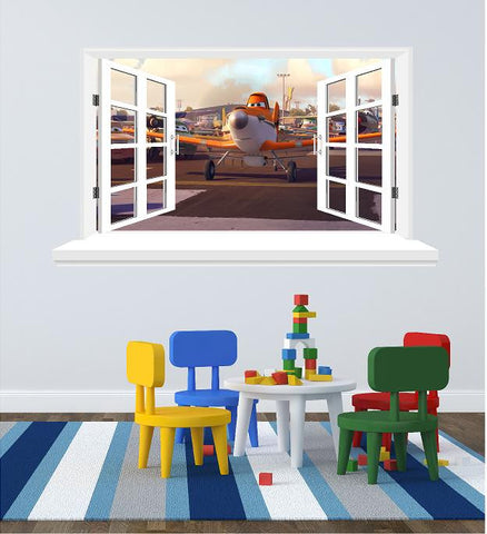 Planes 3D Window sticker for the wall (size 58 x 102 cm ) - Art & Text