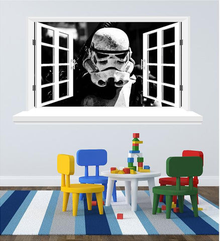 Stormtrooper 3D Window wall sticker (size 58 x 102 cm) - Art & Text