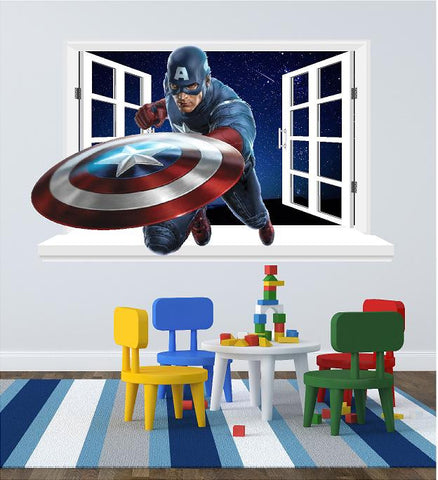 Captain America 3D Window decal for the wall (size 58 x 95 cm) - Art & Text