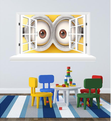 Minions 3D Window wall decal (size 58 x 102 cm ). - Art & Text