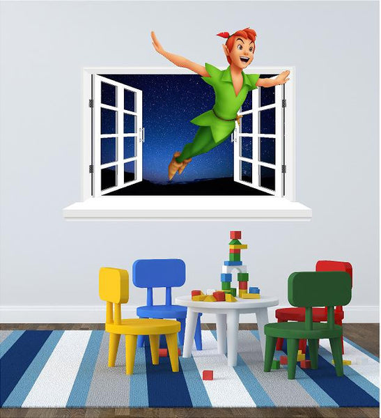 Peter Pan 3D Window sticker for the wall size (58 x  69 cm) - Art & Text