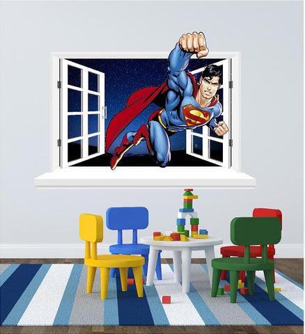 Super man 3D Window sticker (decal) for the wall (size 58 x 80 cm) - Art & Text