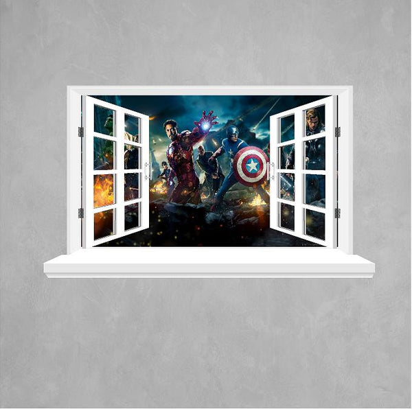 Avengers 3D Window wall sticker. - Art & Text
