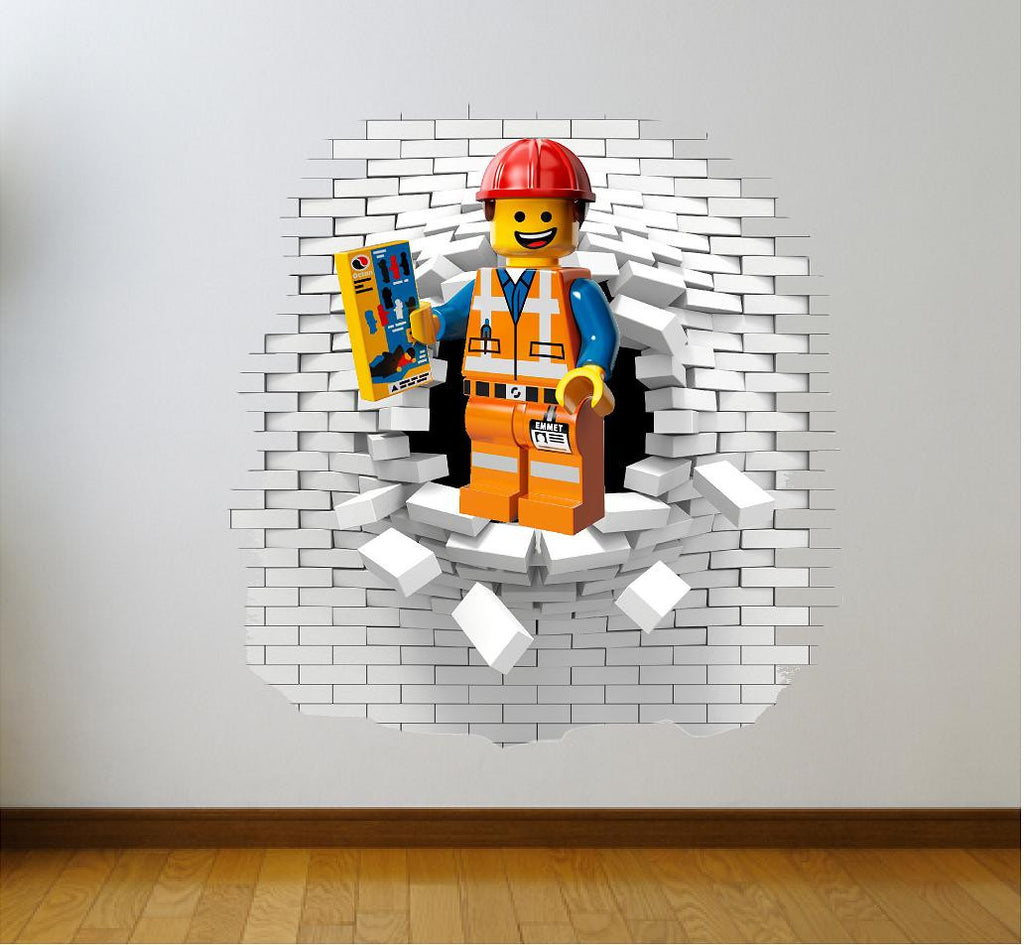 Lego Emmet Wall Decal And Stickers Art Og Text & Lego Wall Decal Gallery - home design wall stickers