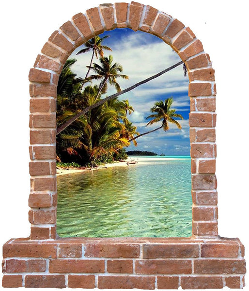 Beach  brick window wall sticker and decals. - Art & Text