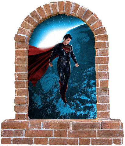 Superman  brick window wall sticker and decals. - Art & Text