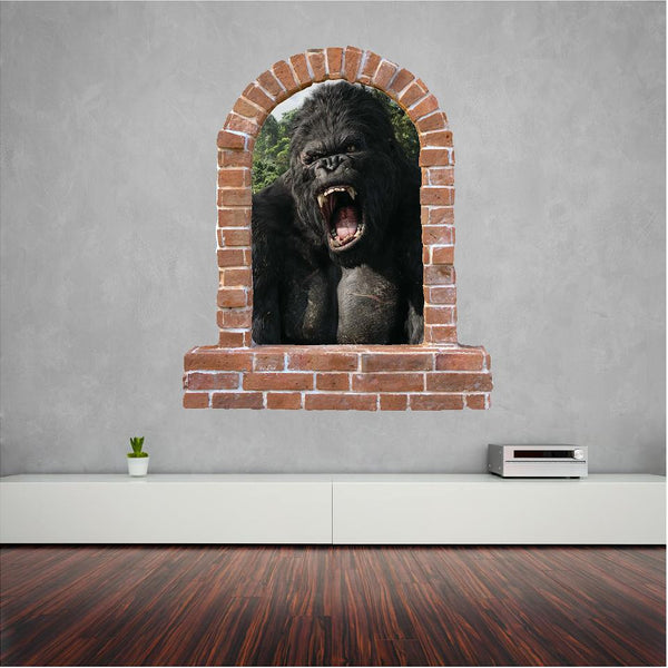 King Kong brick window wall sticker and decals. - Art & Text