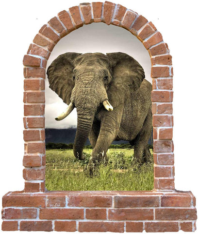 Elephant brick window wall decal and decals... - Art & Text