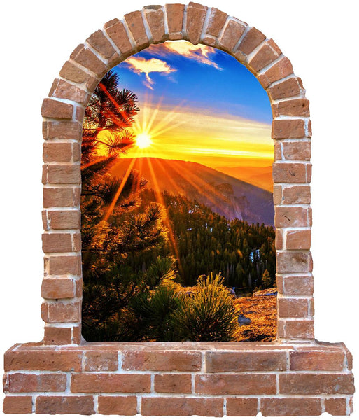 Tree Sun set brick wall sticker (decal) - Art & Text