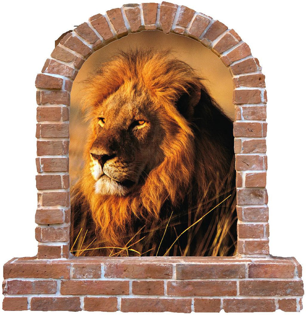 Lion brick window wall decal and stickers. - Art & Text