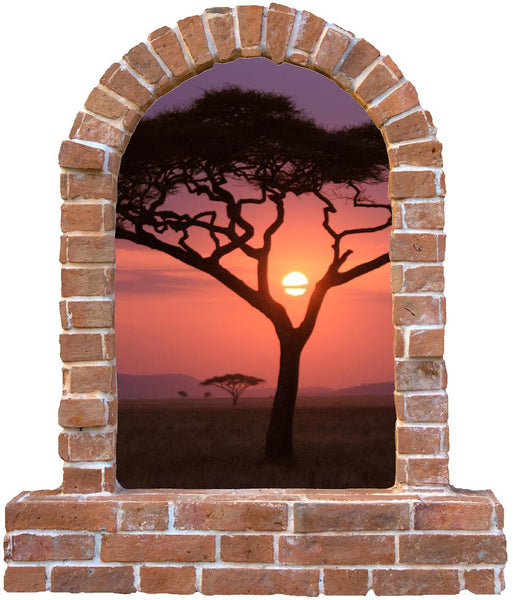 Tree Sunset brick window wall decal and stickers. - Art & Text
