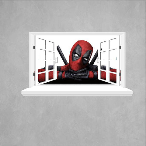 Deadpool 3D Window decal (sticker) for the wall size 58 x 102 cm - Art & Text