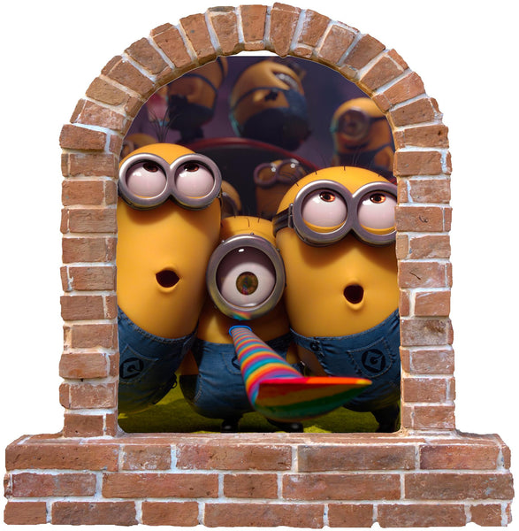 Minions brick window wall decal and stickers. - Art & Text