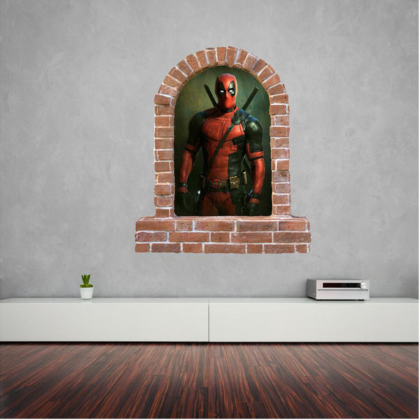 Deadpool brick window wall sticker and decals. - Art & Text