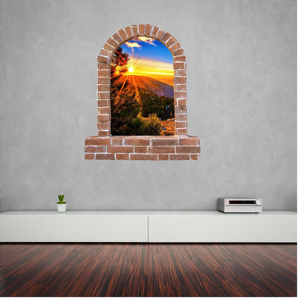 Tree Sun set brick wall sticker and decals. - Art & Text