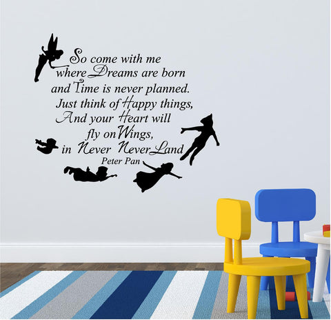 Peter Pan wall text great in the kids bedroom 67 x 58 cm. - Art & Text