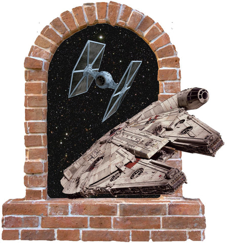 Millennium Falcon brick window wall stickers and decals. - Art & Text