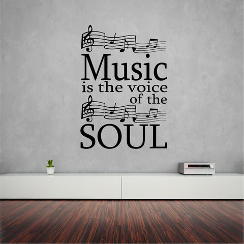 Music is the soul wall sticker (decal) 82 x 58 cm. - Art & Text