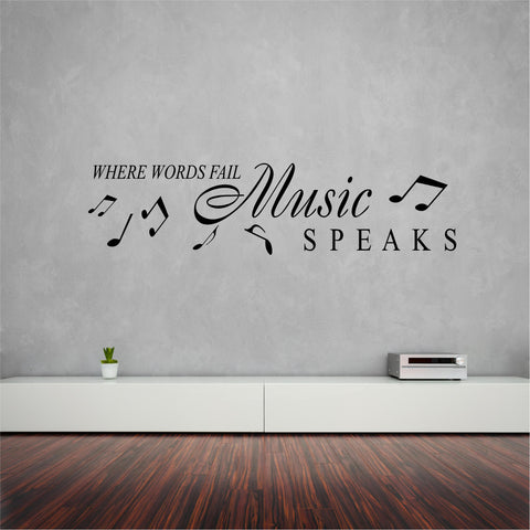 Music  speaks wall sticker (decal) 110 x 27 cm - Art & Text