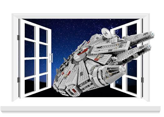 Millennium Falcon 3D Window decals great in the children's bedroom or home (size 80 x 58 cm) - Art & Text
