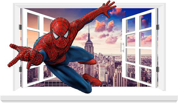 Spiderman 3D Window decal for the wall (size 58 x 100 cm) - Art & Text