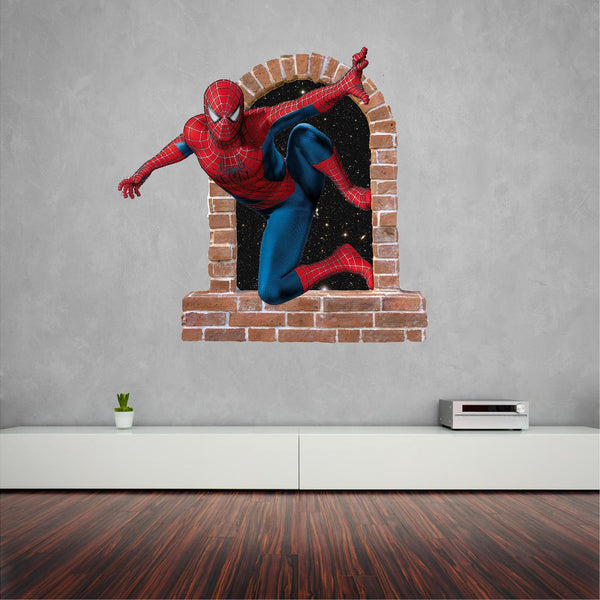 Spiderman brick window...