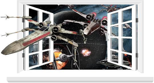 Millennium falcon 3D Window decal for the wall (size 58 x 106 cm). - Art & Text