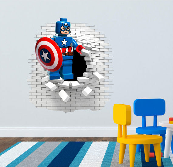 Lego Captain America wall  decals. - Art & Text
