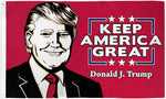 Flag Trump Red with face  3 ft x 5 ft