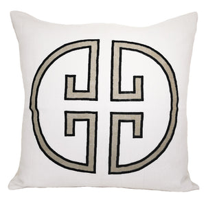 Asphalt Monogram Embroidered Pillow