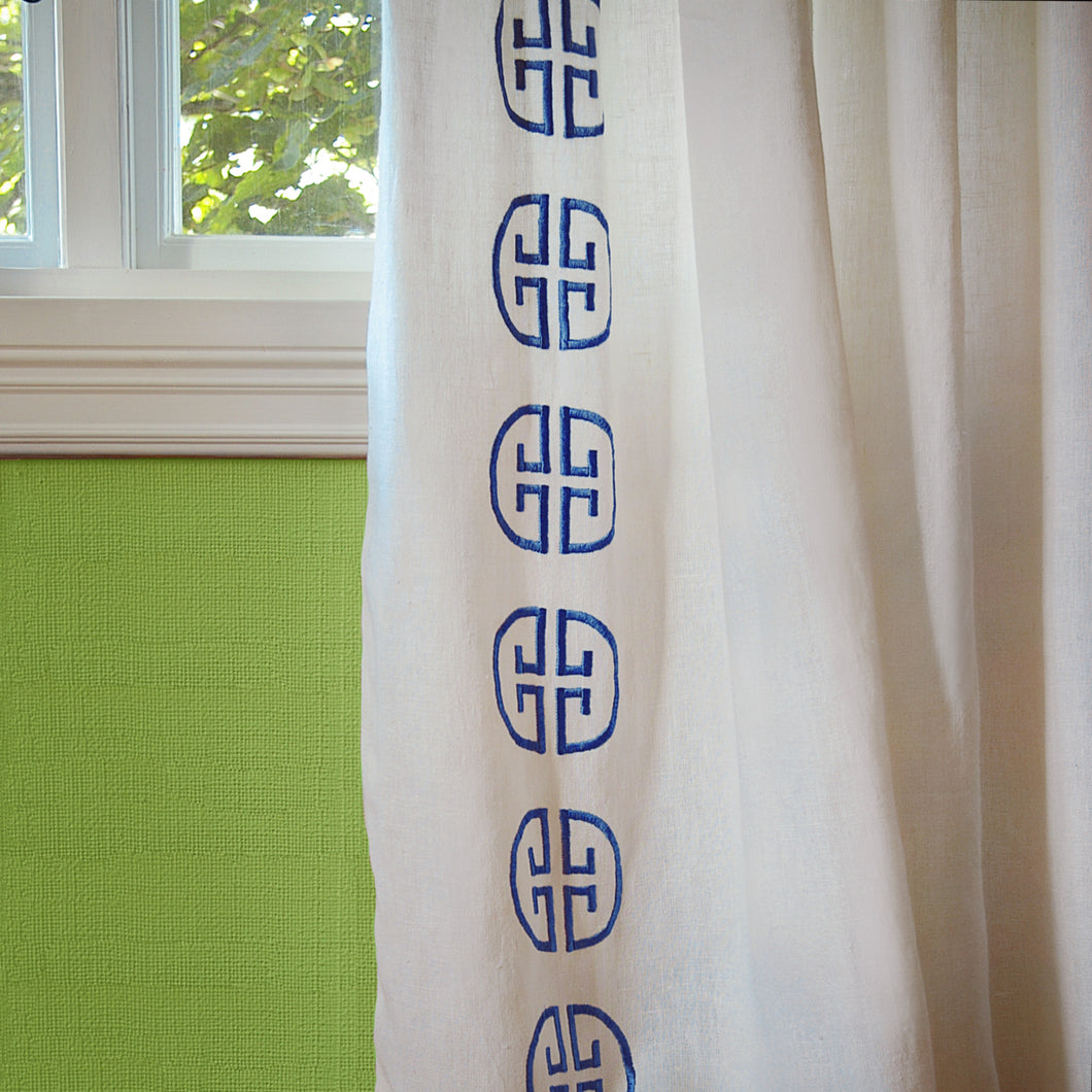 Monogram Curtain - Azure
