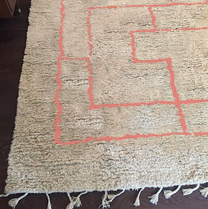 Coral Greek Key Shag Rug