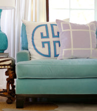 Load image into Gallery viewer, Turquoise Monogram Embroidered Pillow