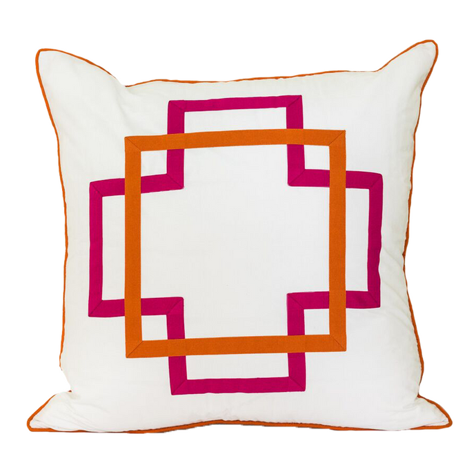 Hot Pink and Orange Takes Two Euro Sham