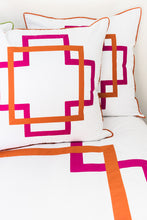 Load image into Gallery viewer, Hot Pink and Orange Takes Two Euro Sham