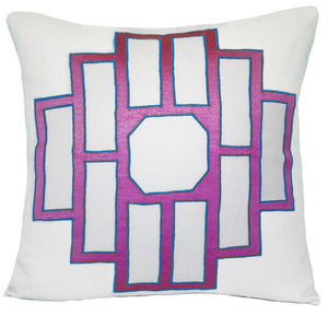 Magenta Mark Embroidered Pillow