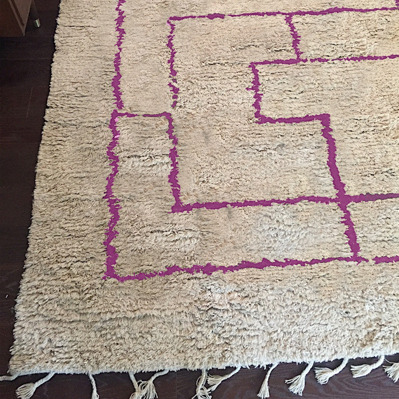 Magenta Greek Key Shag Rug