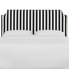 Load image into Gallery viewer, Oscar Upholstered Headboard - Black and White Stripe