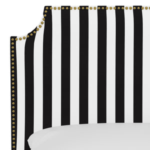 Oscar Upholstered Headboard - Black and White Stripe