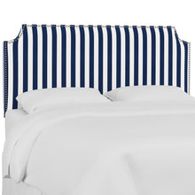 Load image into Gallery viewer, Oscar Upholstered Headboard - Navy and White Stripe