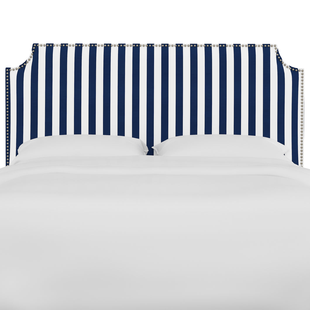 Oscar Upholstered Headboard - Navy and White Stripe