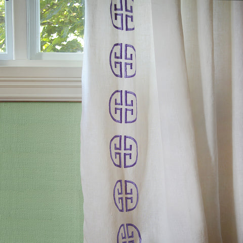 Monogram Curtain - Amethyst               Only 2 Panels Left!