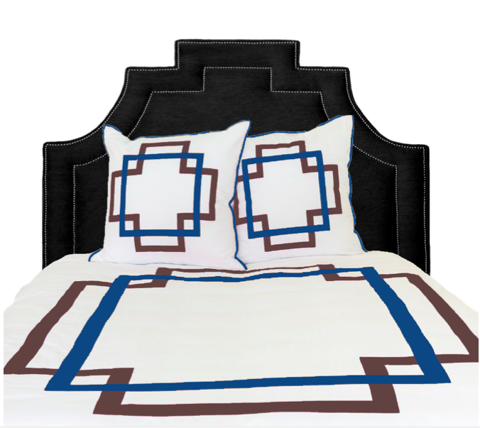 Coffee and Cobalt Takes Two Duvet Cover