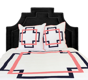 Navy and Coral Takes Two Duvet Cover