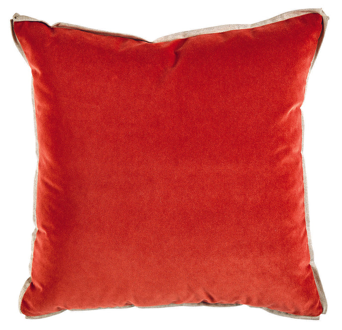 Velvet Edge Pillow - Tomato